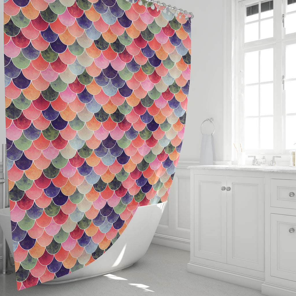Tuscan Mermaid Scales Shower Curtain Bathroom Decor