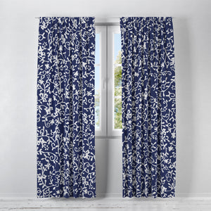 Navy Blue White Vines Window Treatments, Custom Window Curtains, Window Valance