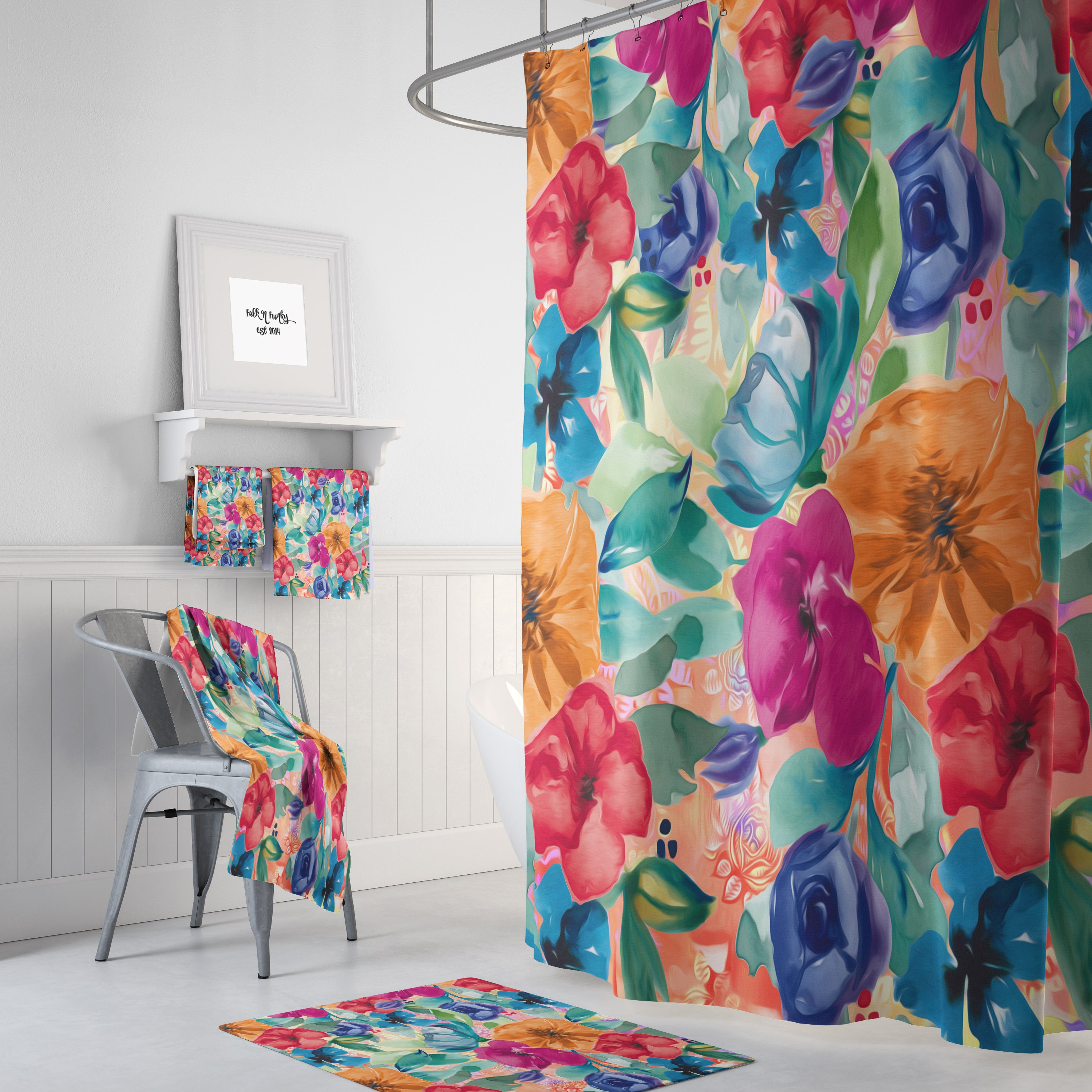 Vintage Inspired Floral Shower Curtain