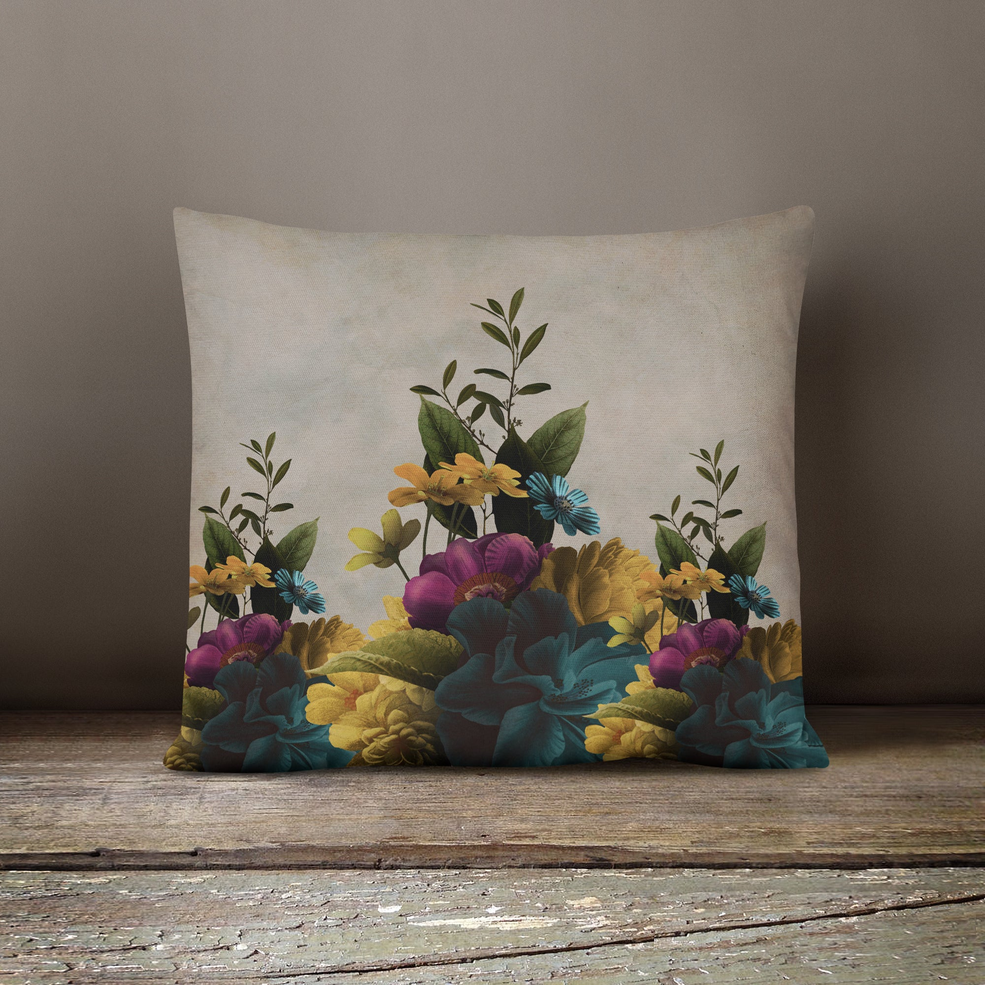 Melancholy Garden Floral Throw Pillow