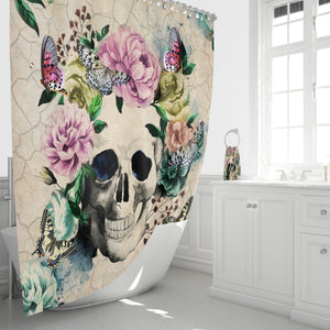 Sugar Skull Shower Curtain Butterfly Floral Vintage Inspired