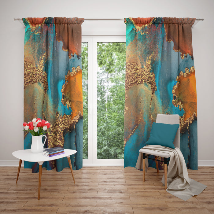 Natures Watercolor Sheer and Blackout Window Curtains