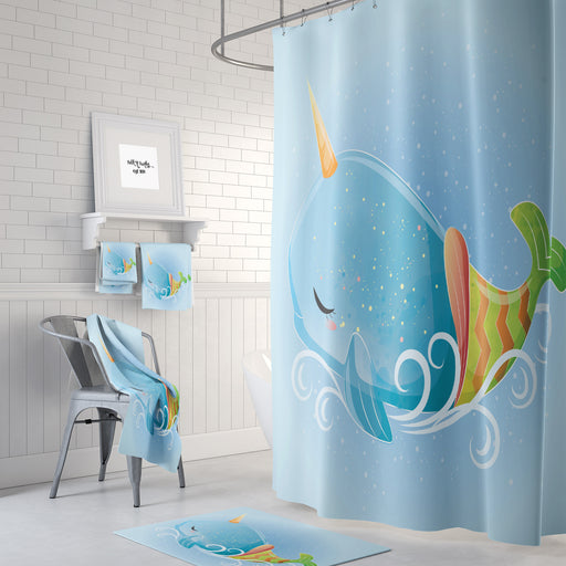 Fun Kawaii Whale Shower Curtain