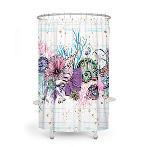 Seashells Coastal Shower Curtain Optional Accessories