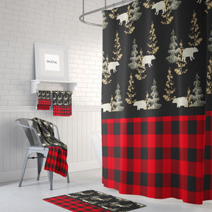 The Plaid Rustic Woodland Bears Shower Curtain