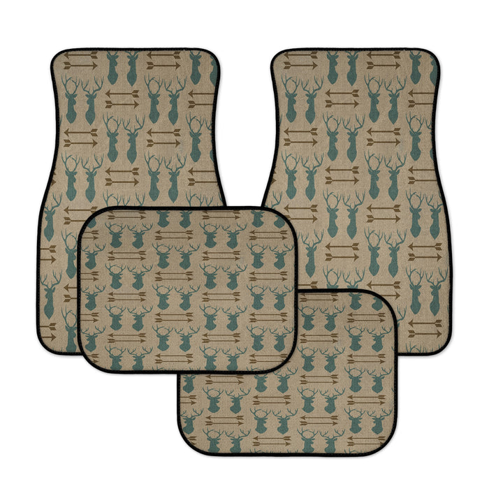 Rustic Blue Deer Antlers and Arrows Car Floor Mats