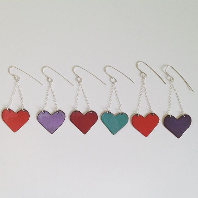 Enameled Love Earrings at alishamerrickart