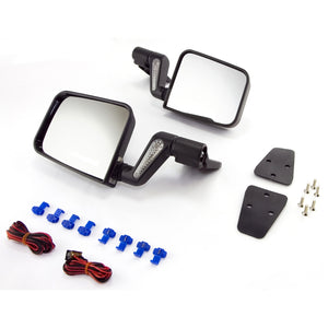 Heated Door Mirror Kit, Black, 87-02 Wrangler