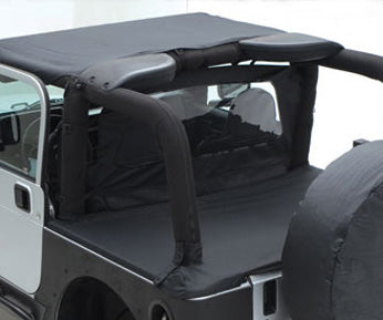 Tonneau Cover - For Oem Soft Top W/ Channel Mount - Denim Black  87-91 Wrangler