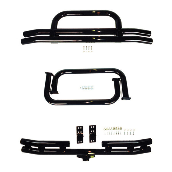 3 Inch Tubular Bumper and Side Step Kit, Black; 76-86 Jeep CJ7/CJ8