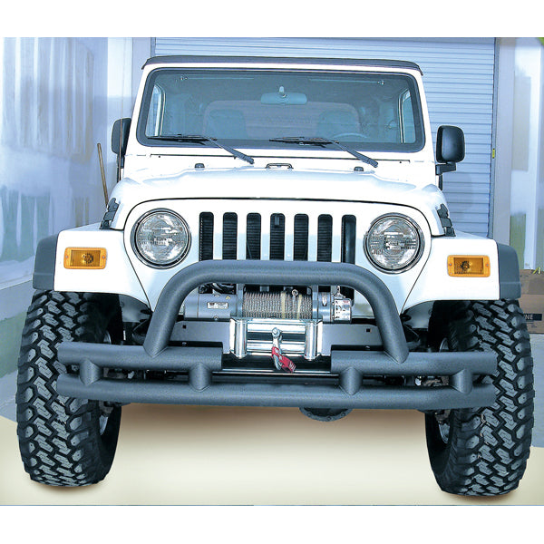 Double Tube Front Winch Bumper w/ Hoop, 3 Inch; 76-06 Jeep Models