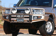 Load image into Gallery viewer, Deluxe Bull Bar Winch Mount Bumper  Land Cruiser 100 Series - Powdercoat Black