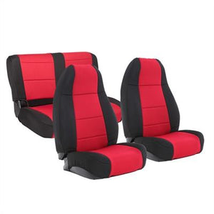 Neoprene Seat Cover Set Front&Rear - Red   YJ 91-95
