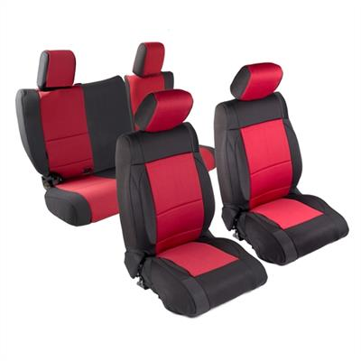 Neoprene Seat Cover Set Front&Rear - Red  JKU 13-18