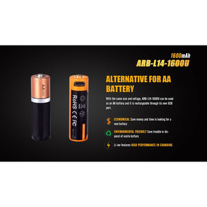ARB-L14-1600U USB Rechargeable Li-ion 14500 Battery