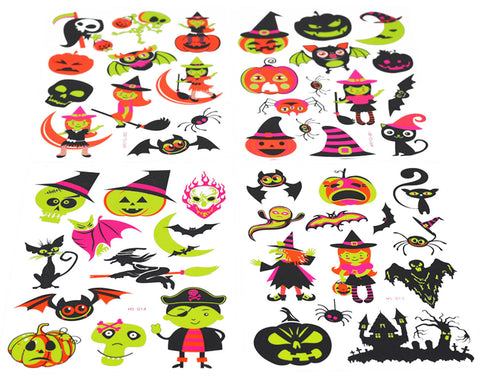 Halloween Tattoos for Kids, Temporary Glow in the Dark Tattoo by NimNik, 48 Tattoos