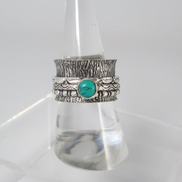 Turquoise Spin Me Round Meditation Sterling Silver Ring