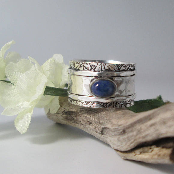 Lapis Lazuli Spin Me Round Meditation Sterling Silver Ring