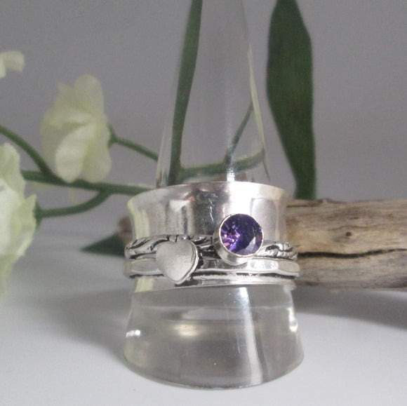 Spin Me Round Meditation Amethyst  Sterling Silver Ring