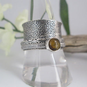 Tigers Eye Spin Me Round Meditation Sterling Silver Ring