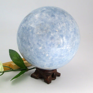 """Grounding & Protecting"" Blue Calcite Sphere & Stand"