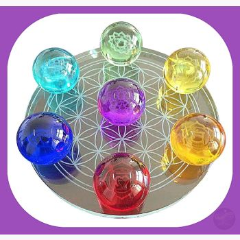 7 Chakra Flower Of Life Set Crystal Balls - 55Mm Ball Mystical Moons