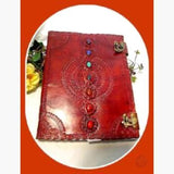 7 Chakra Leather Journal With Latch - 10 X 13 Journals Mystical Moons