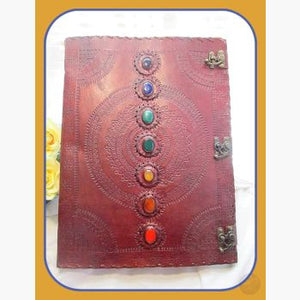 7 Chakra Leather Journal With Latch - Huge 13 1/2 X 18 Journals Mystical Moons