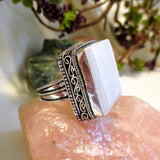 """Peaceful Meditation "" Selenite  Sterling Silver Ring"