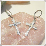 Peaceful Angel White Fire Opal Cross Sterling Silver  Earrings