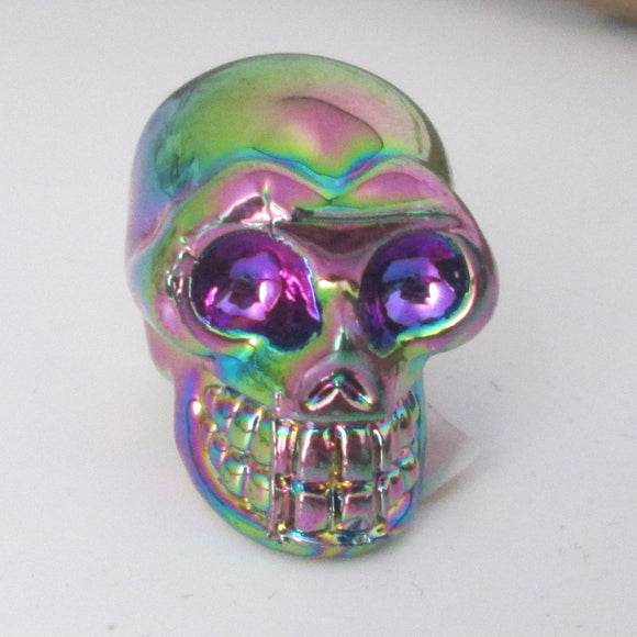 """The Stone of Universal Light"" Titanium Flame Aura Skull"