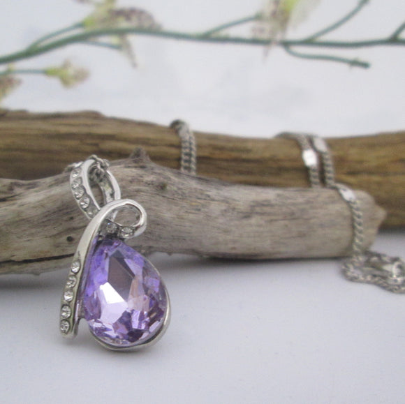 Amethyst Topaz Drop Necklace