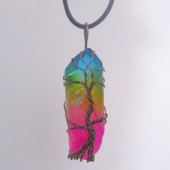 Tree of Life Rainbow Titanium Aura Quartz Necklace