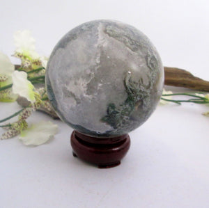 """In Abundance"" Moss Agate Sphere & Stand"