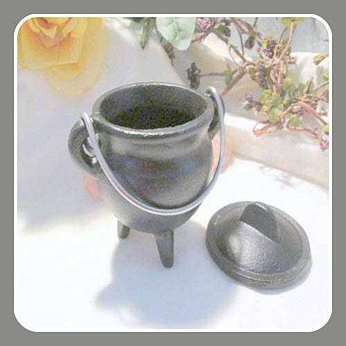 Plain Cast Iron Cauldron with Lid