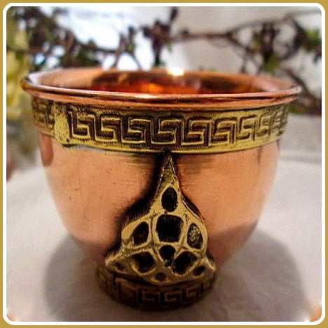 Triquetra Copper Brass Offering Bowl