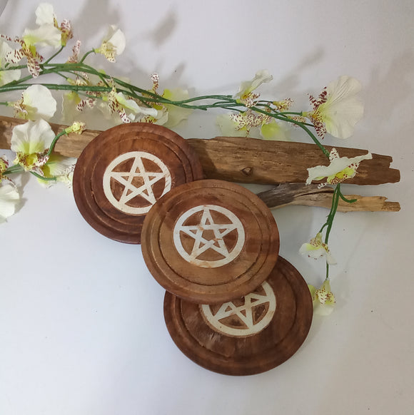 Wooden Pentagram Inlaid Altar Tile / Coaster