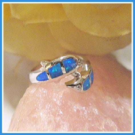 Lucky Dolphin Blue Fire Opal Sterling Silver Ring