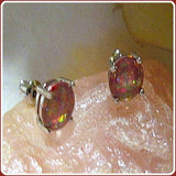 """Peace & Harmony"" Fire Opal Sterling Silver Stud Earrings & Jewelry Box"