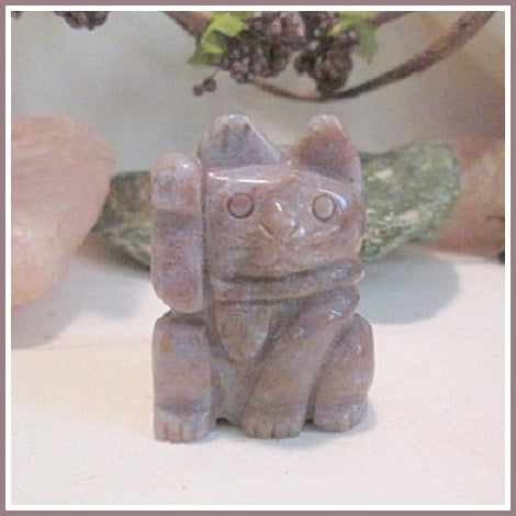 Indian Agate Maneki Neko Luck & Good Fortune Beckoning Money Cat Totem
