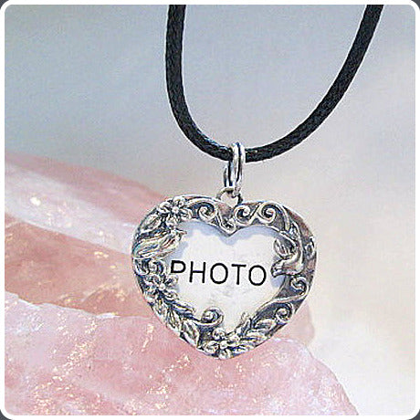 Loving Heart Photo Frame Sterling Silver Pendant & Chain