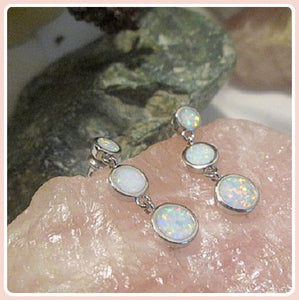 """Peace & Love"" Angel  White Fire Opal Drops Sterling Silver Stud Earrings Box Set"