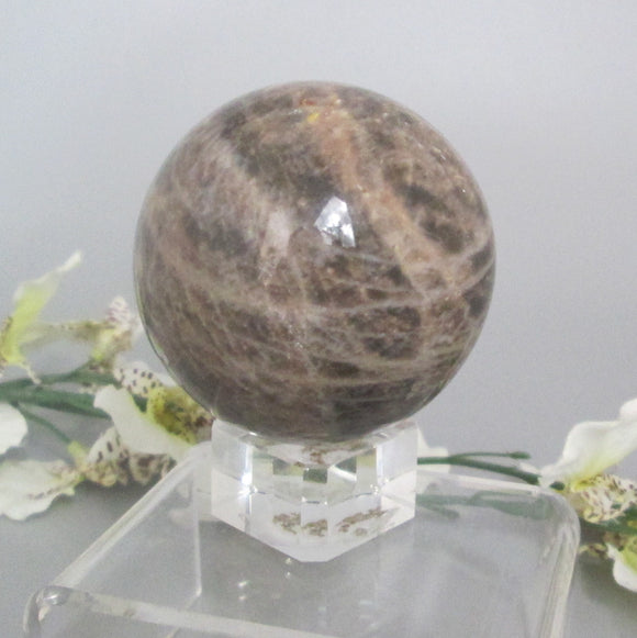 Black Moonstone Sphere & Stand