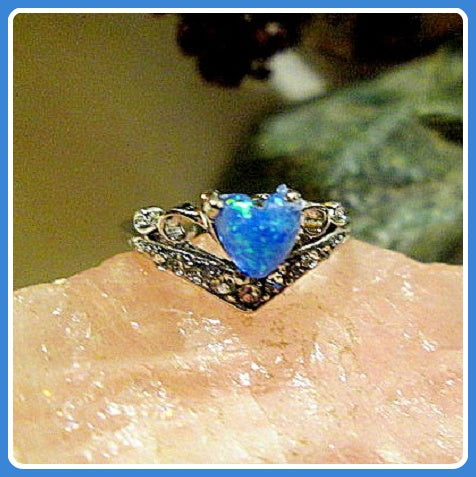 Love & Luck Drawing Heart Blue Fire Opal Sterling Silver Ring