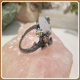 """Peace & Love"" Flowering Angel White Fire Opal Ring"