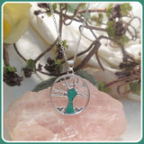 """Peace & Harmony"" Tree of Life Green Fire Opal Necklace"
