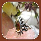 Success & Protection Amber Sun Sterling Silver Ring Sizes 5-10