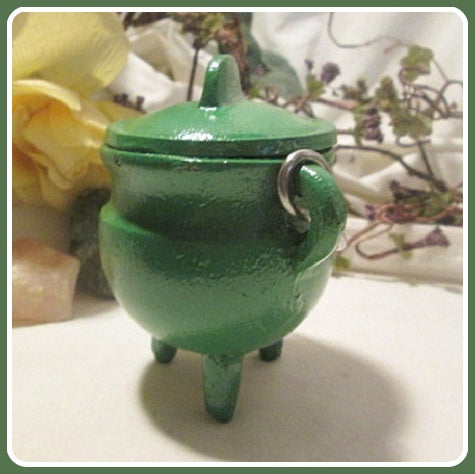 Green Cast Iron Cauldron with Lid