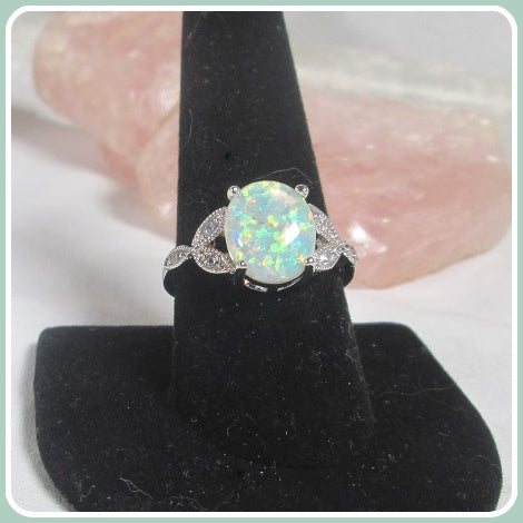Angel  White Fire Opal Sterling Silver Ring