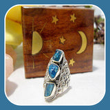 Meditating Rough Blue Apatite Sterling Silver Ring Size 6 - Mystical Moons